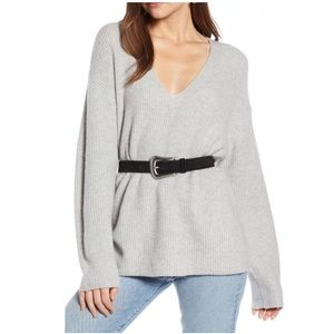 Something navy gray relaxed vneck comfort sweater